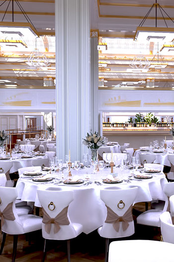 Interior of Cunard House wedding venue