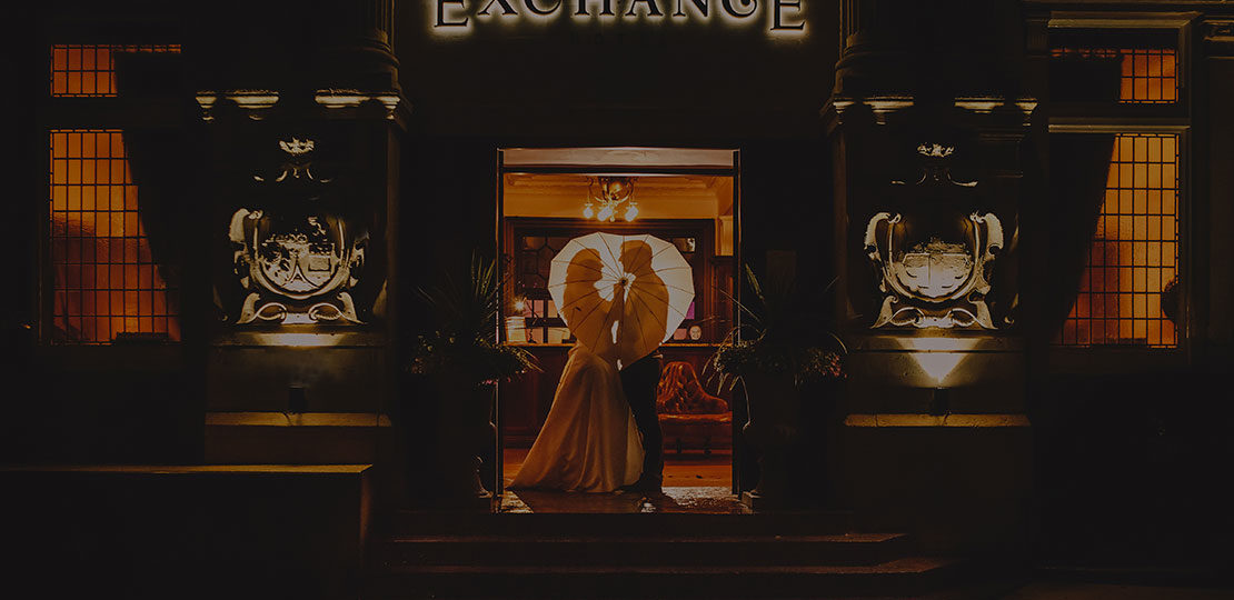 Happy couple at The Exchange Hotel in Belfast