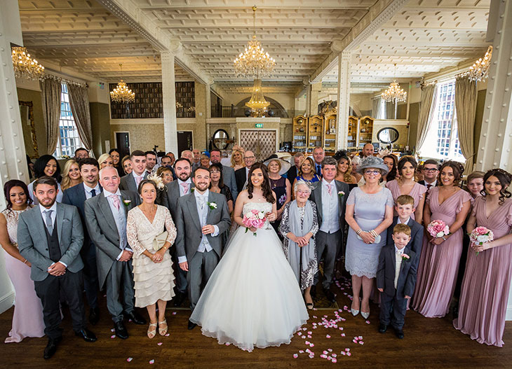 Wedding party in the White Star Grand Hall at 30 James Street