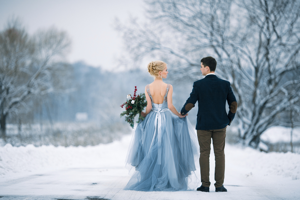 Newly weds in winter