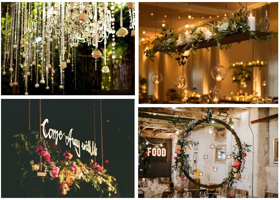Hanging wedding table centrepieces