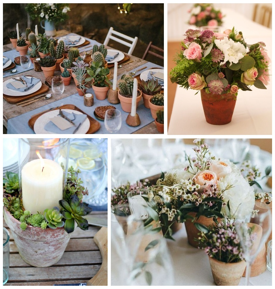 Teracotta Pot Wedding table Centrepeices